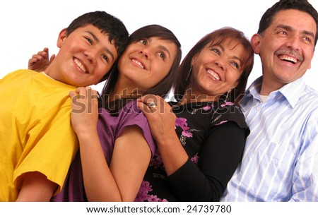 Latin american family over a white background