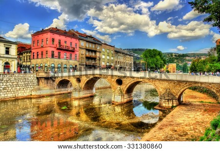 Latin Bridge in Sarajevo - Bosnia and Herzegovina - stock photo