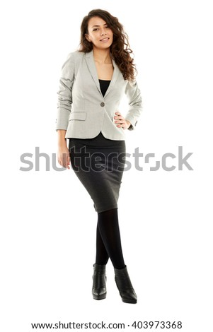 Latin businesswoman isolated on white in full length - stock photo