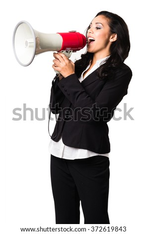 Latin Businesswoman with bullhorn on white background