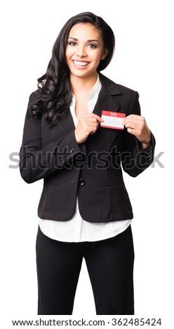 Latin Businesswoman with Hello Name Tag isolated on white background - stock photo