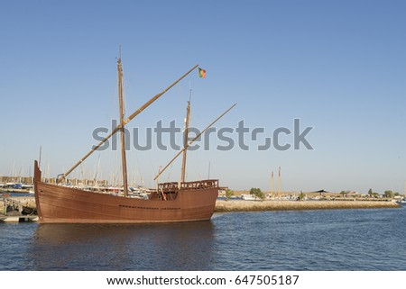 Latin Caravel, from the Portuguese discoveries, moored in an atlantic ocean port in the south of Portugal