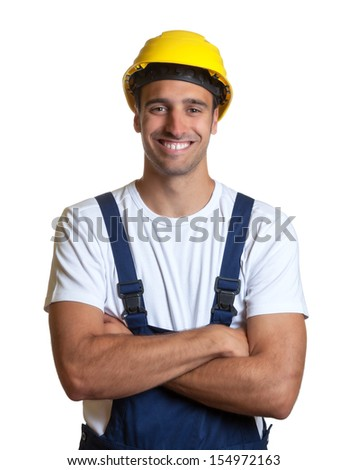 Latin construction worker with crossed arms