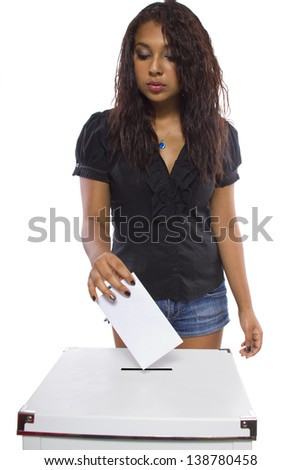 Latin female voter at the ballot box. Isolated on a white background. - stock photo