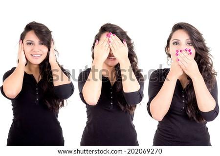 latin girl see hear speak no evil metaphor isolated on white background - stock photo