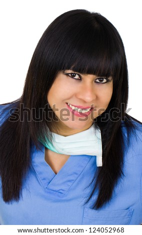 Latin medic woman smiling isolated over white - stock photo