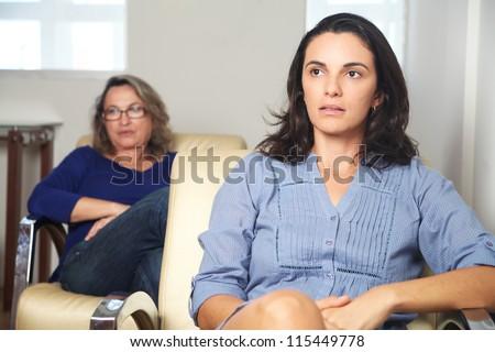 Latin woman at psychotherapy - stock photo