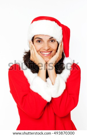 Latin woman in red christmas dress with head in hands