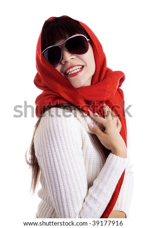 Latina fashion model in a red scarf and sunglasses