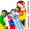 Latinamerican group with flags - isolated over a white background - stock photo