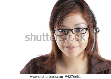 Latino Customer Service Woman with Headset - stock photo