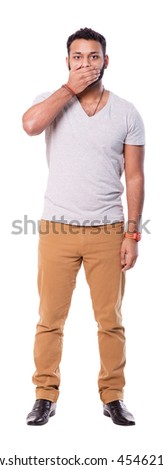 Latino man covering mouth with a right hand. Full length portrait isolated on white background. - stock photo
