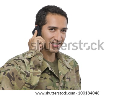 Latino Military Man with Cellphone