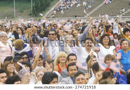 Latinos Taking Pledge of Allegiance, Los Angeles, California - stock photo