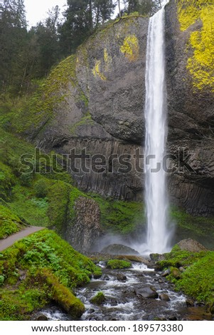 Latourell Falls waterfall along the Columbia Gorge Scenic Highway in Oregon - stock photo