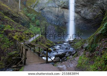 Latourrell Falls along the Columbia River Gorge.  - stock photo