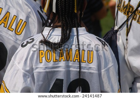 LATROBE, PA  JULY 29, 2008:  Troy Polamalu fans watching Pittsburgh Steelers practicing at training camp at St. Vincent College in Latrobe Pennsylvania for the 2008 2009 football season