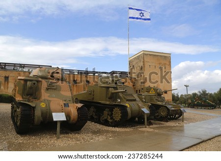 LATRUN, ISRAEL - NOVEMBER 27: American light tanks on display from the left M3 Grant, M3 Lee and M3A1 Stuart at Yad La-Shiryon Armored Corps  Museum at Latrun on November 27, 2014.