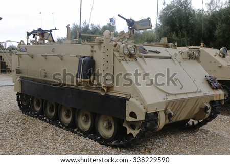 LATRUN, ISRAEL - NOVEMBER 27, 2014: American made M113 A1 armored personnel carrier on display at Yad La-Shiryon Armored Corps Museum at Latrun