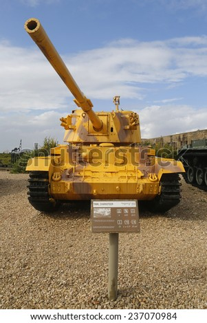 LATRUN, ISRAEL - NOVEMBER 27: British made Charioteer lightweight tank captured by IDF in Southern Lebanon on display at Yad La-Shiryon Armored Corps Museum at Latrun on November 27, 2014