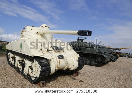 LATRUN, ISRAEL - NOVEMBER 27, 2014: Egyptian Sherman M4A4 with FL-10 Turret at the front captured by IDF on display at Yad La-Shiryon Armored Corps Museum at Latrun - stock photo