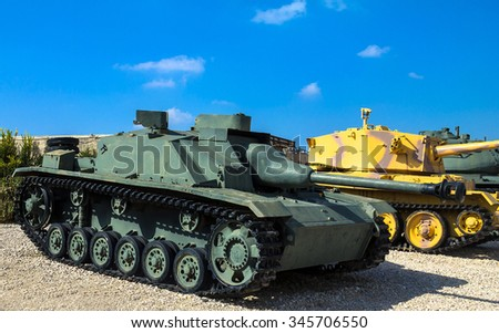 LATRUN, ISRAEL - OCTOBER 14, 2015:  German made tank destroyer Sturmgeschutz III captured by IDF from Syrian Forces in 1967 on display at Yad La-Shiryon Armored Corps Museum at Latrun