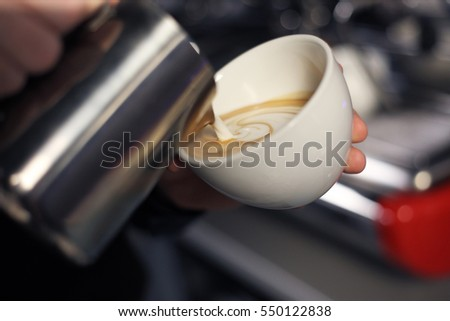 Latte art coffee cup