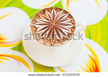 Latte art coffee cup in white. - stock photo