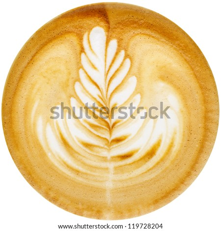 Latte Art, coffee in white background - stock photo