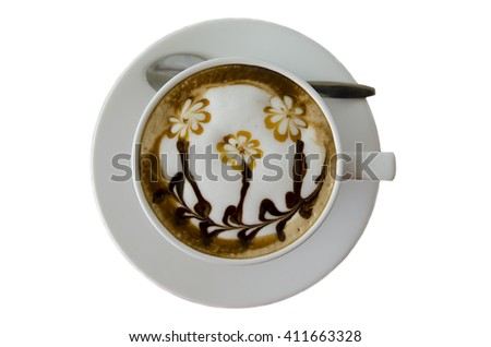 latte art coffee isolate on white background, a cup of latte art,hot coffee on white background. - stock photo