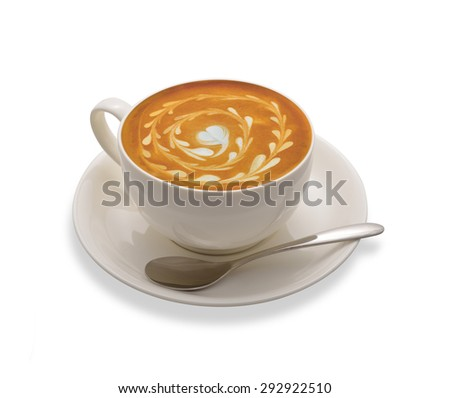 Latte Art, coffee isolated on white background - stock photo