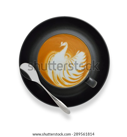 Latte Art, coffee isolated on white background ,bird shape - stock photo