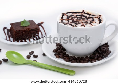latte coffee cup with chocolate cake on white background - stock photo