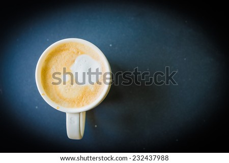 latte coffee in white cup - vintage effect style pictures - stock photo
