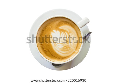 latte coffee on isolate white with clipping path. - stock photo