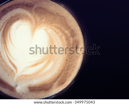 latte coffee with heart shape