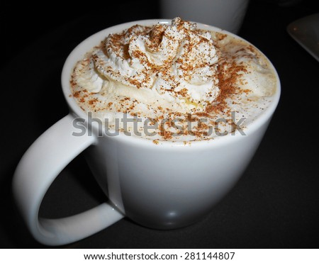 Latte coffee with whipped cream
