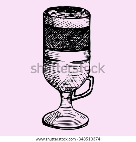 latte macchiato in glass cup, doodle style, sketch illustration, hand drawn, raster - stock photo