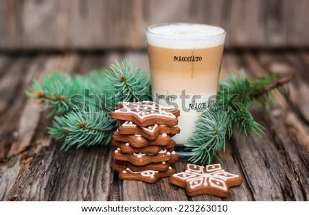 Latte macchiato - italian coffee drink, Christmas mood - stock photo