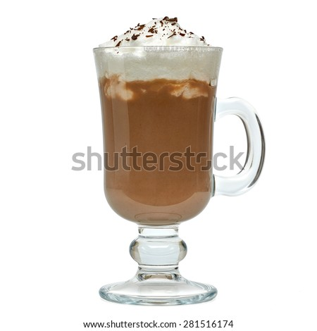 Latte with cream in irish coffee mug on white background included clipping path - stock photo