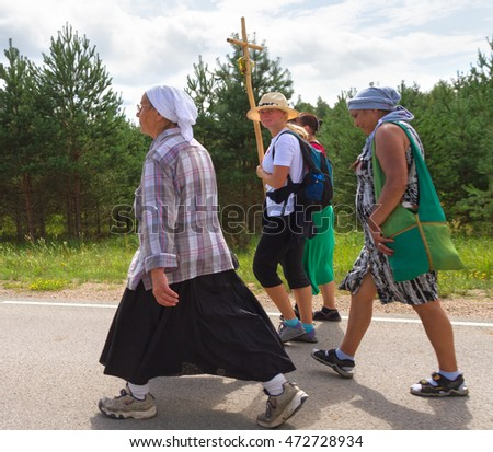 LATVIA, AUGUST 8: Pilgrims, who is on a journey to a holy place in Aglona on 8 August 2016, Latvia.