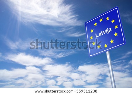 Latvia Border Sign with clouds sky. 3D Rendering - stock photo