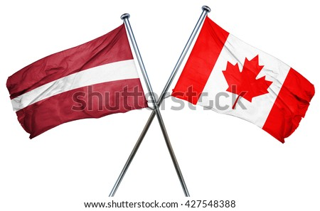 Latvia flag  combined with canada flag