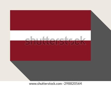 Latvia flag in flat web design style. - stock photo