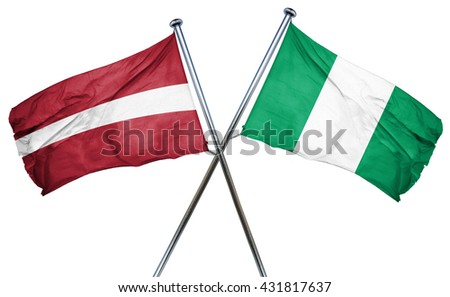 Latvia flag with Nigeria flag, 3D rendering
