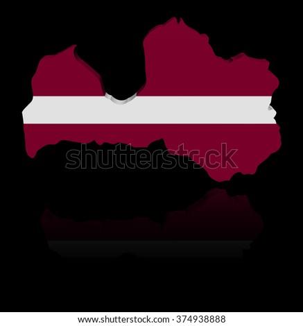 Latvia map flag with reflection illustration - stock photo