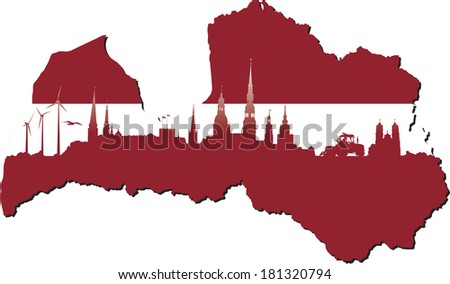 Latvia map in flag colors and symbols of business and history of state - stock photo