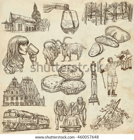 Latvia. Republic of Latvia. Pictures of life and travel collection of an hand drawn illustrations. Pack of full sized hand drawings. Set of freehand sketches. Line art technique. Paper background.