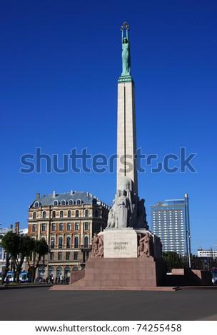 "Latvia Riga Historical center - ""Unesco World Heritage site"" Freedom Monument - stock photo"