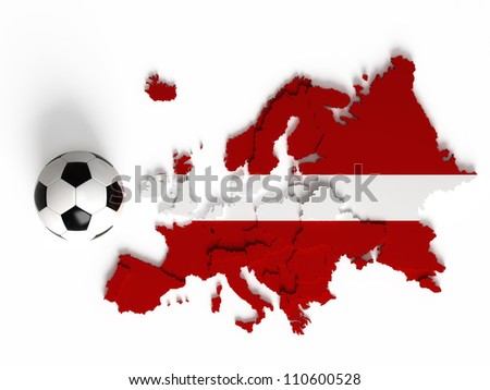 Latvian flag on European map with national borders, isolated on white background